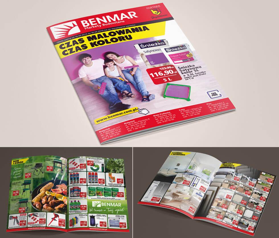 Benmar Gazetka reklamowa prezentująca najnowsze promocje w Marketach Budowlanych Benmar. Projektowana i drukowana przez nas.