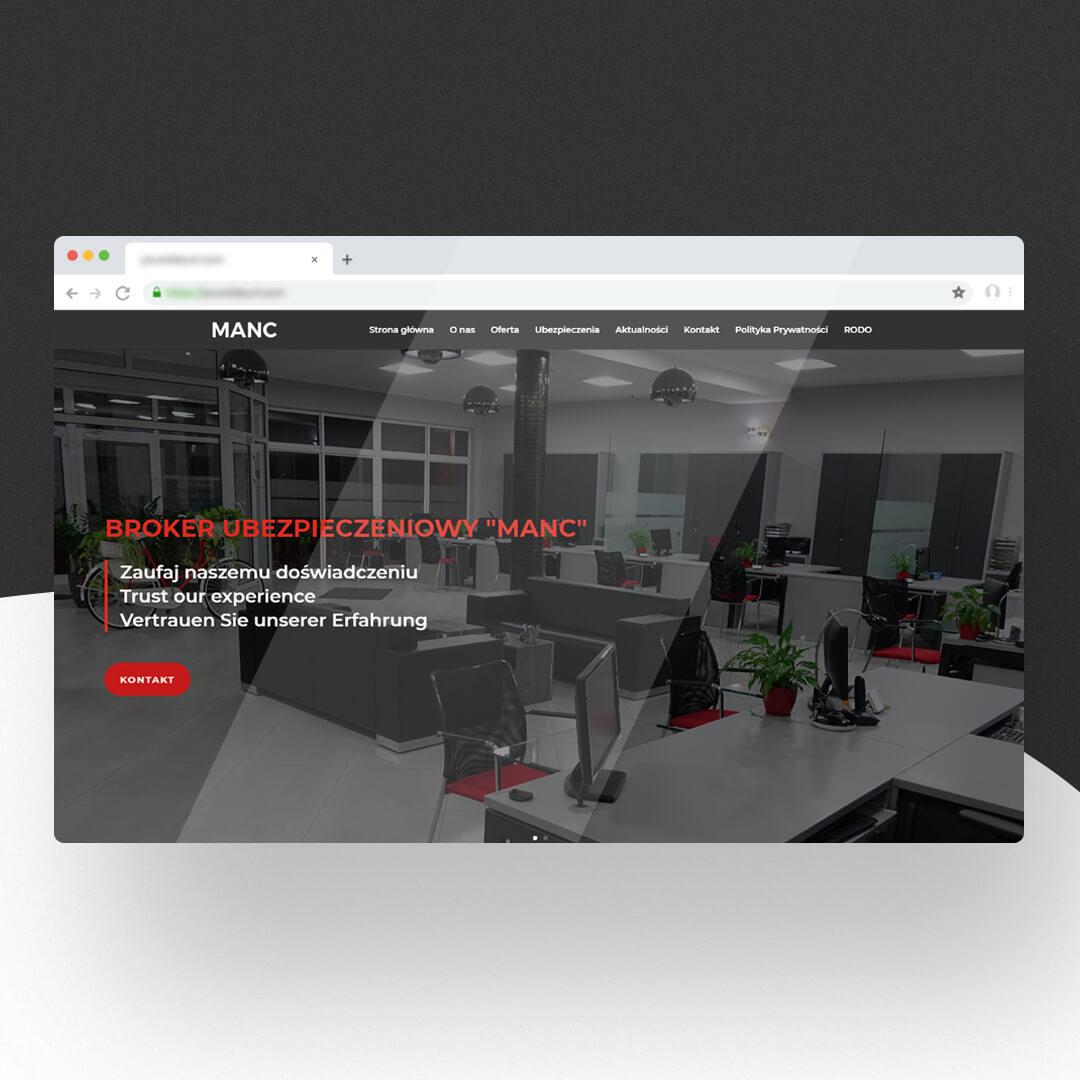 Grafika przedstawia zrzut ekranu przeglądarki internetowej. Widzimy stronę internetową manc.pl