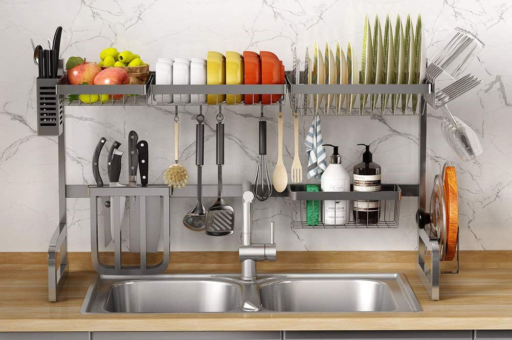 the sink racks to organize your kitchen