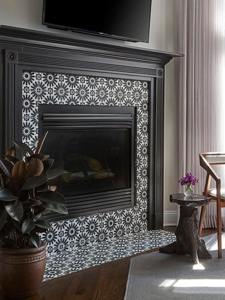 14 fresh designs for tiled fireplaces