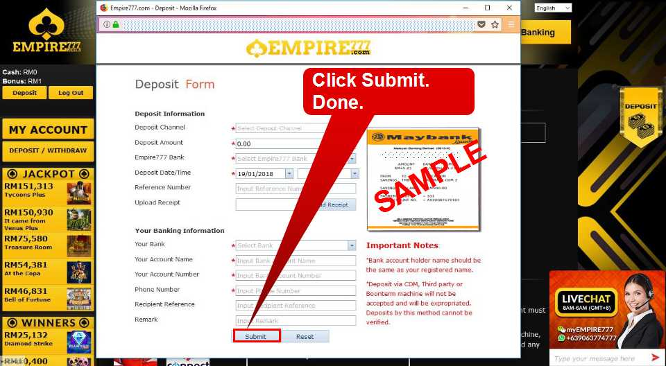 Malaysia Online Casino Empire777 Deposit Form Guide 13