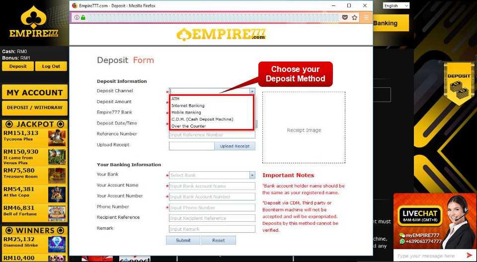 Malaysia Online Casino Empire777 Deposit Form Guide 4