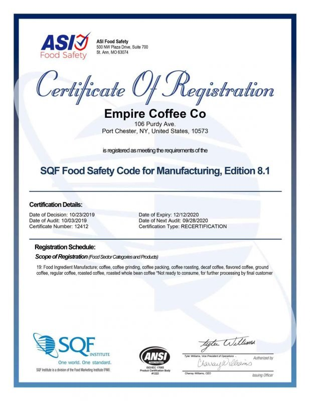 2019 sqf certificate - empire coffee roasters