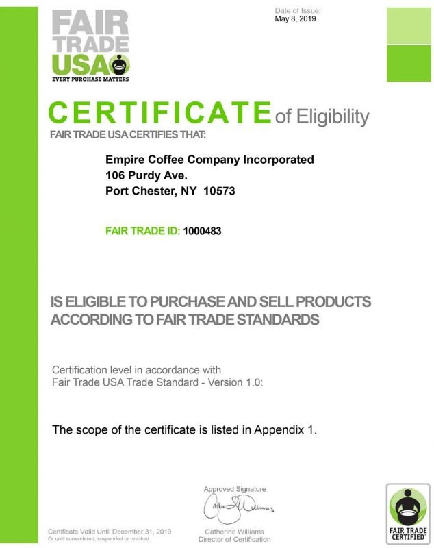 2019-fair-trade-certification-empire coffee roasters