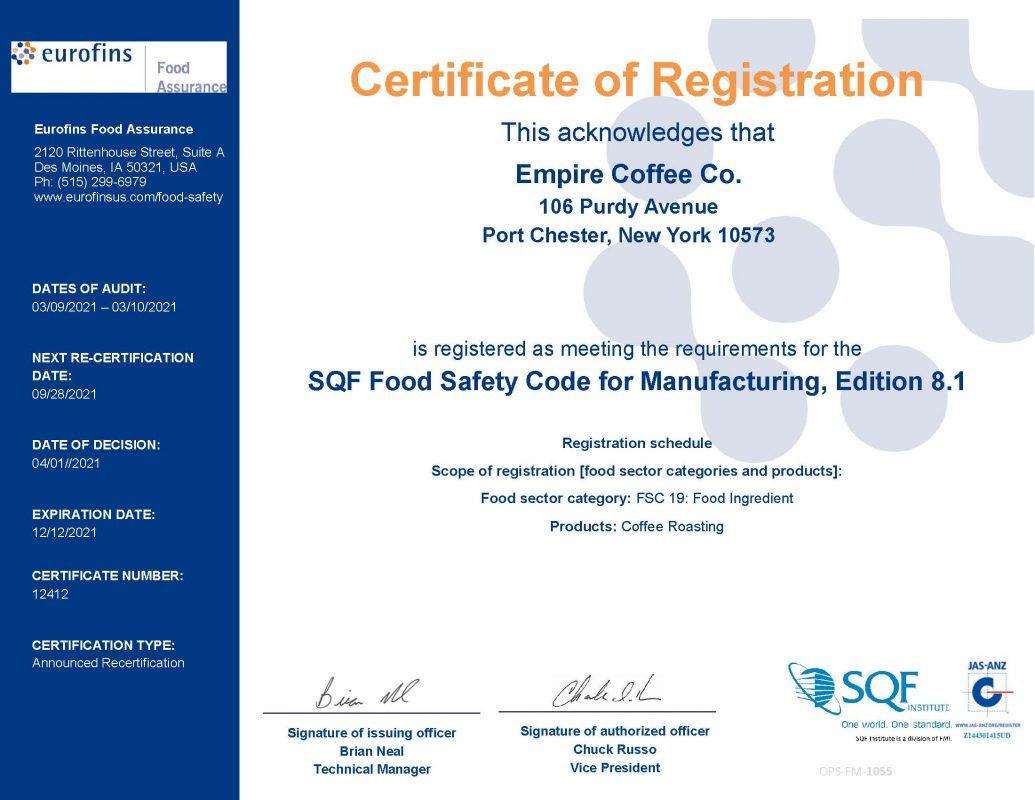 SQF food safety certification