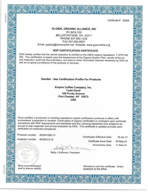 Empire Coffee Organic Certificate 2021