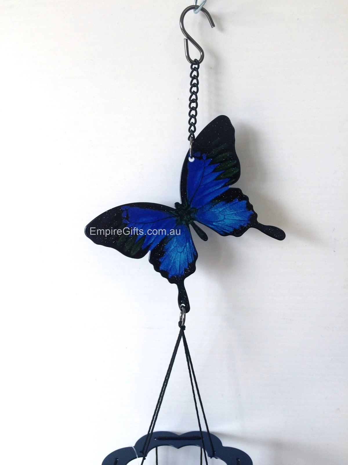 1 x Butterfly Blue Ulysses Metal Wind Chime 5pc mobile  Empire Gifts