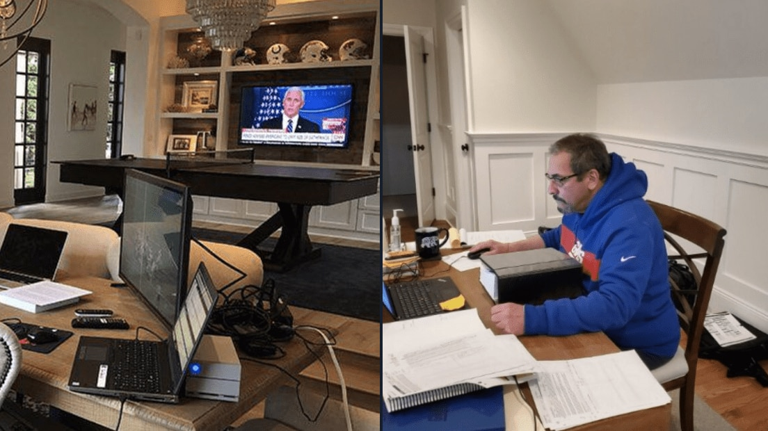 Dave Gettleman at-home NFL Draft setup