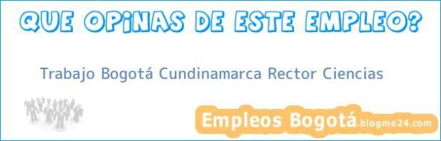 Trabajo Bogotá Cundinamarca Rector Ciencias