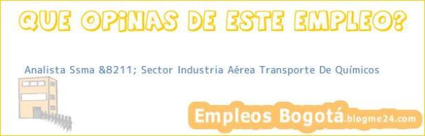 Analista Ssma &8211; Sector Industria Aérea Transporte De Químicos