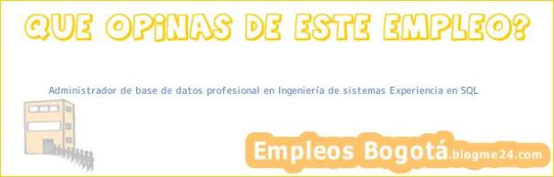 Administrador de base de datos profesional en Ingeniería de sistemas Experiencia en SQL