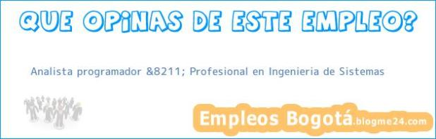 Analista programador &8211; Profesional en Ingenieria de Sistemas