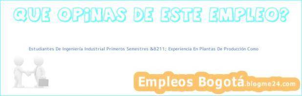 Estudiantes De Ingeniería Industrial Primeros Semestres &8211; Experiencia En Plantas De Producción Como