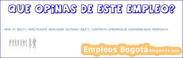 NPW-51 &8211; PRACTICANTE INGEnIERIA SISTEMAS &8211; CONTRATO APRENDIZAJE DISPONiBILIDAD INMEDIATA