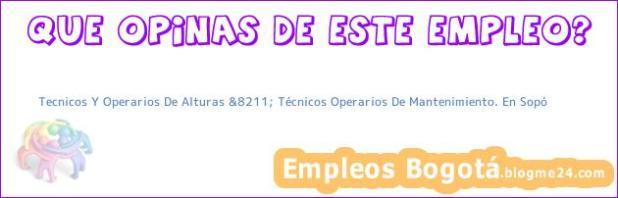 Tecnicos Y Operarios De Alturas &8211; Técnicos Operarios De Mantenimiento. En Sopó
