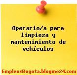 Operario/a para limpieza y mantenimiento de vehículos