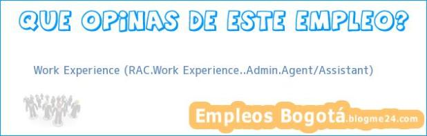 Work Experience (RAC.Work Experience..Admin.Agent/Assistant)