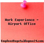 Work Experience – Airport Office
