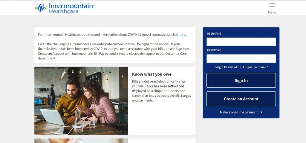 Intermountain bill pay login portal