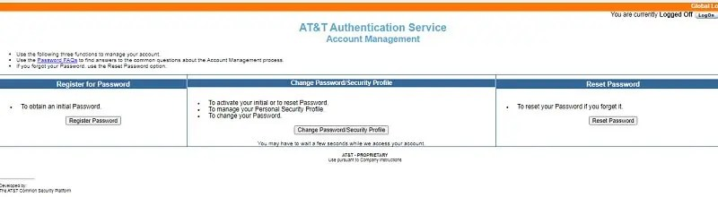 reset Hr one-stop at&t Password