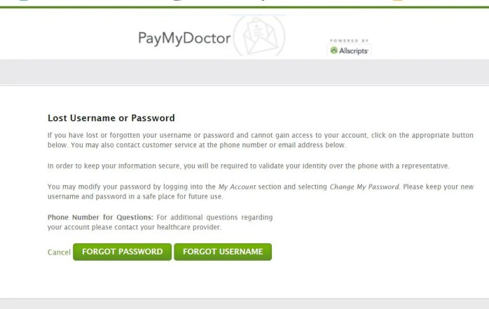 Paymydoctor forgot username and password