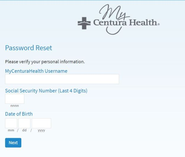 MyCenturaHealth Login Password Reset Steps