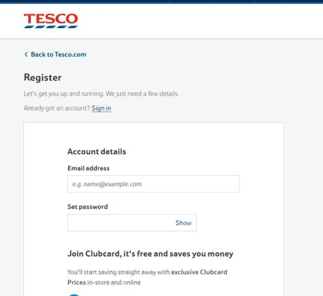 Tesco employee login account registration process
