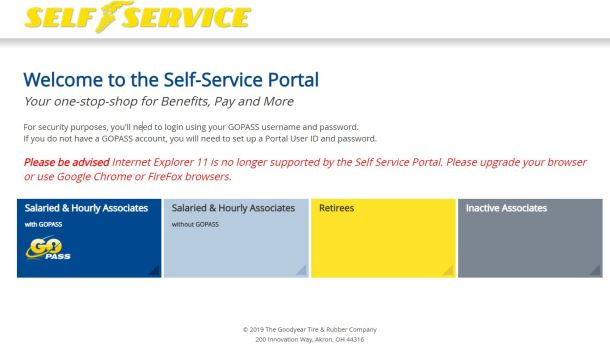 Goodyear Employee Self Service Portal