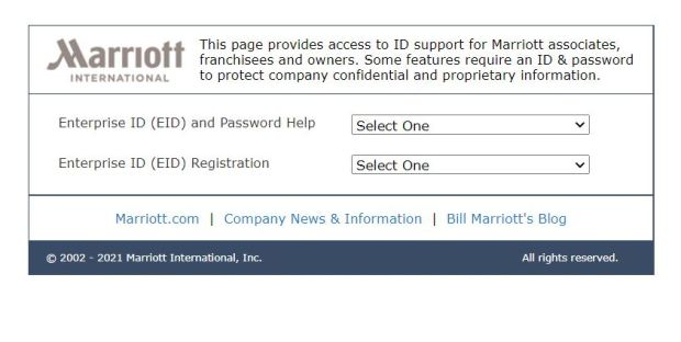 Marriott Enterprise ID (EID) Recovery steps