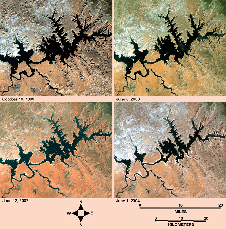 GEOSat photos of Lake Powell and drought, 2000 to 2004 - Dr. Paul R. Baumann, SUNY - Oneonta College