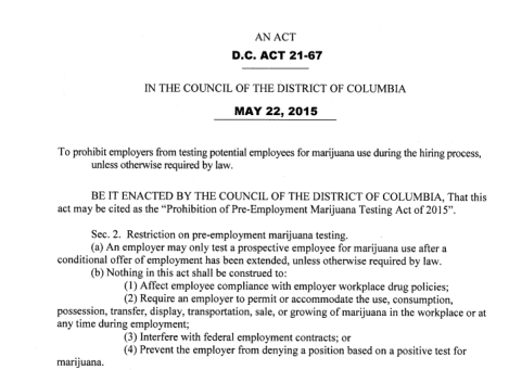 First Page of Prohibition of Pre-Employment Marijuana Testing Act of 2015