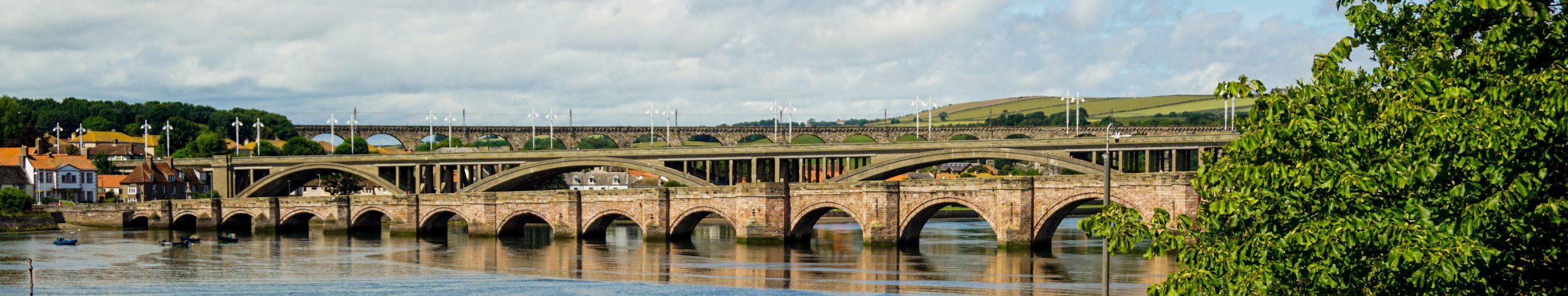 Panorama of three bridges