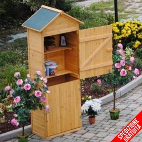 Armadio in legno da esterno porta attrezzi per giardino e terrazzo