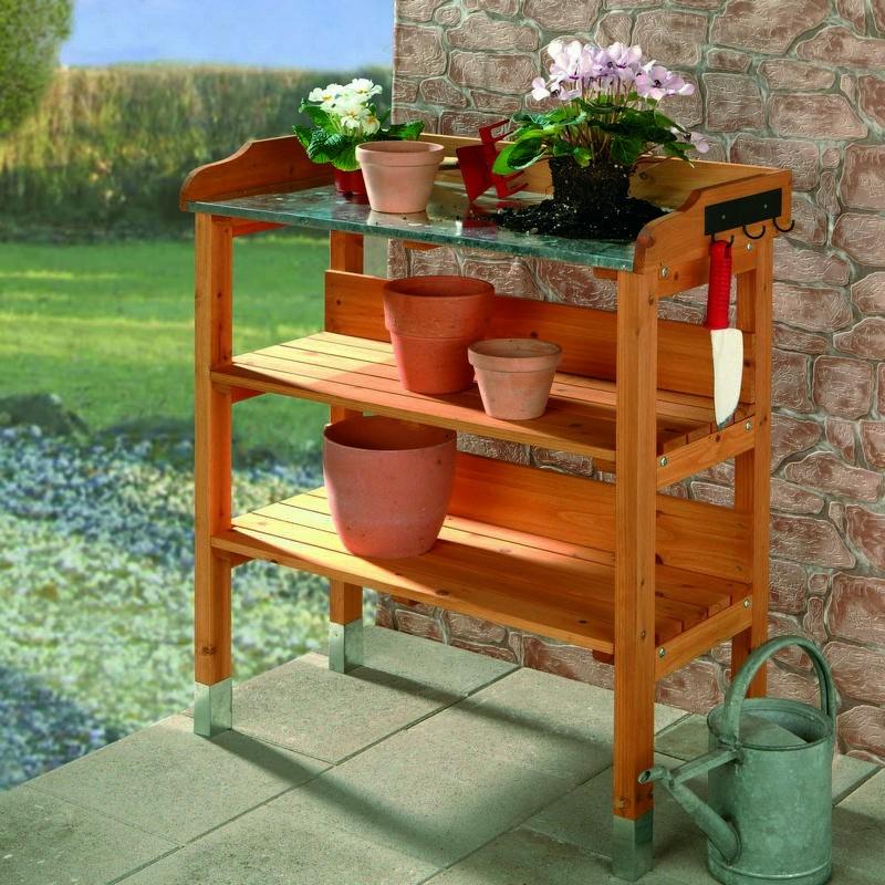 Banco da lavoro in legno da esterno per giardinaggio e fai da te