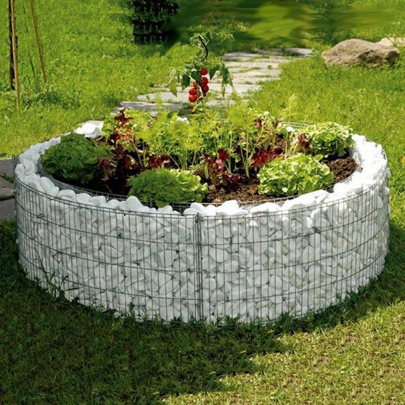 Gabbione rotondo  146 per aiuola in pietra giardino e orto rialzato