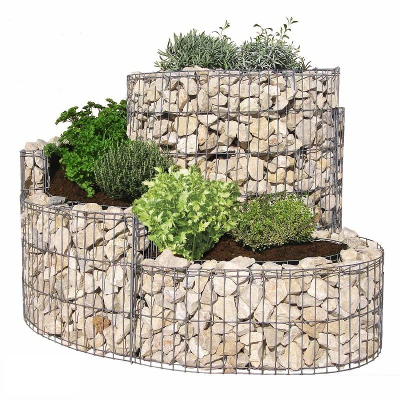 Gabbione a spirale 110x90 cm per orto e giardino rialzato