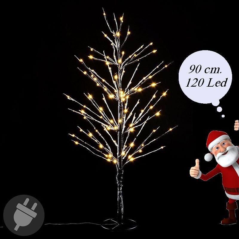 Albero di Natale innevato con luci Led da esterno alto 90 cm