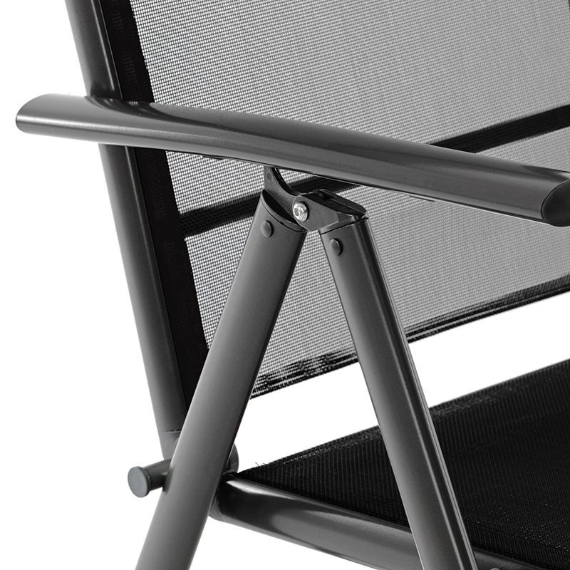 Outsunny set 4 sedie pieghevoli da giardino in rattan con telaio in. Sedie Da Giardino Pieghevoli Reclinabili In Alluminio Antracite Nero