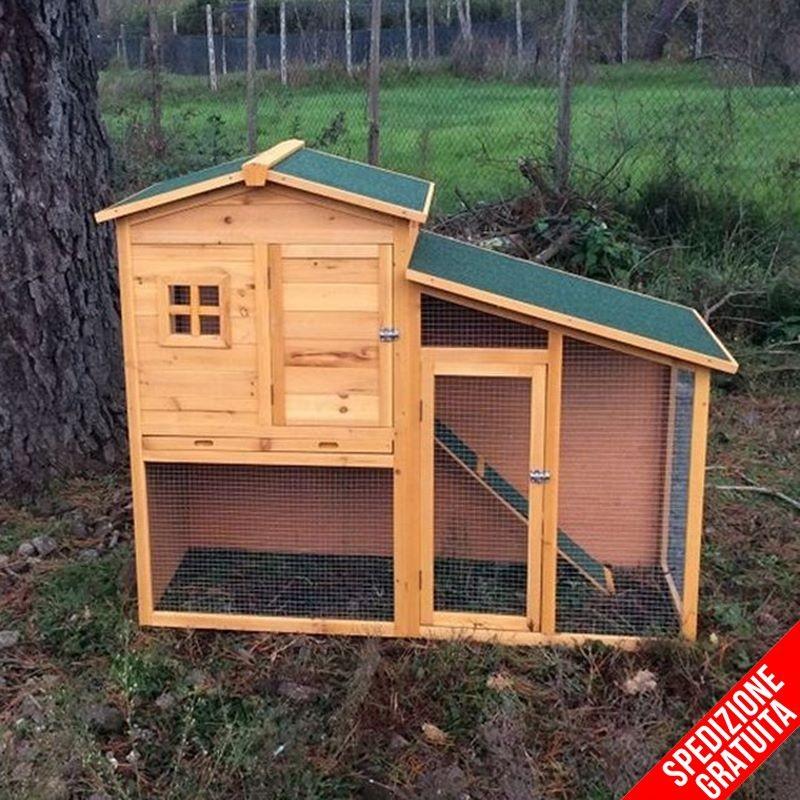 Conigliera da esterno in legno con recinto e casetta per