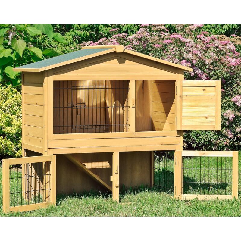 Gabbia per conigli nani in legno da esterno o interno