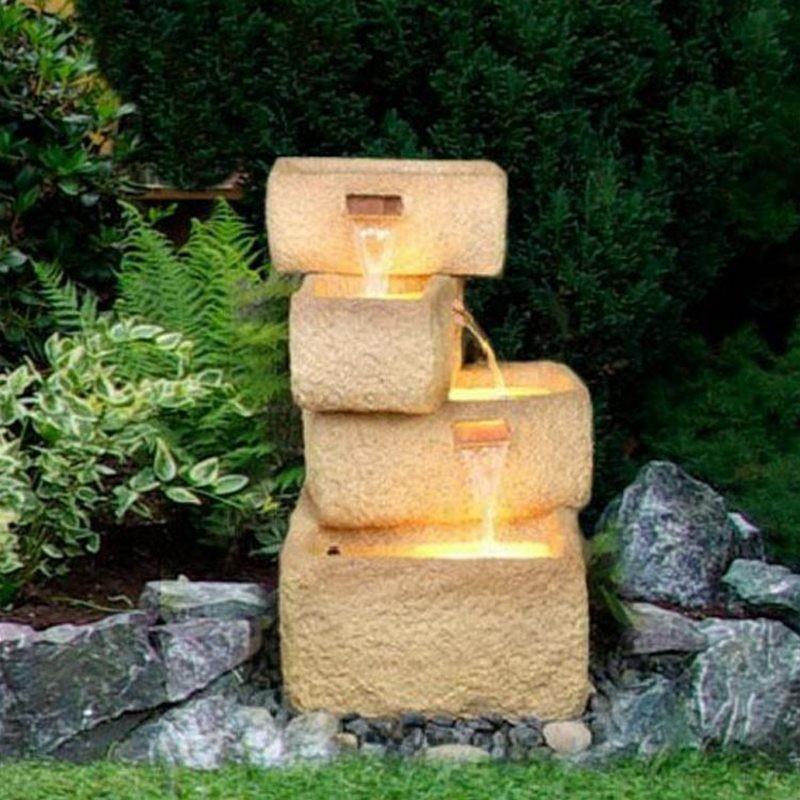 Fontana da giardino con luci modello natura inclusa pompa