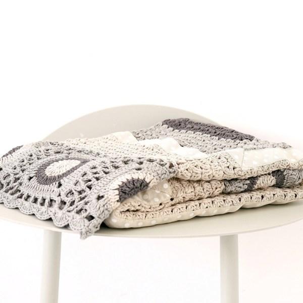 Grey and cream hand crochet blanket