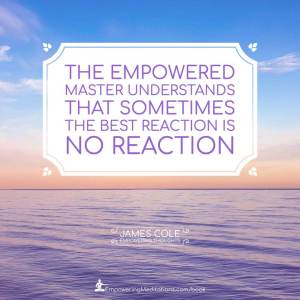 The Empowered person understands that sometimes the best reaction is no reaction.