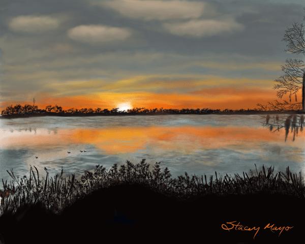 Lakeside Sunset 16 x 20