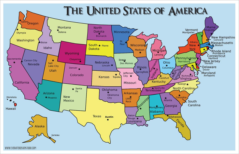 United States Of America States Amp Capitals