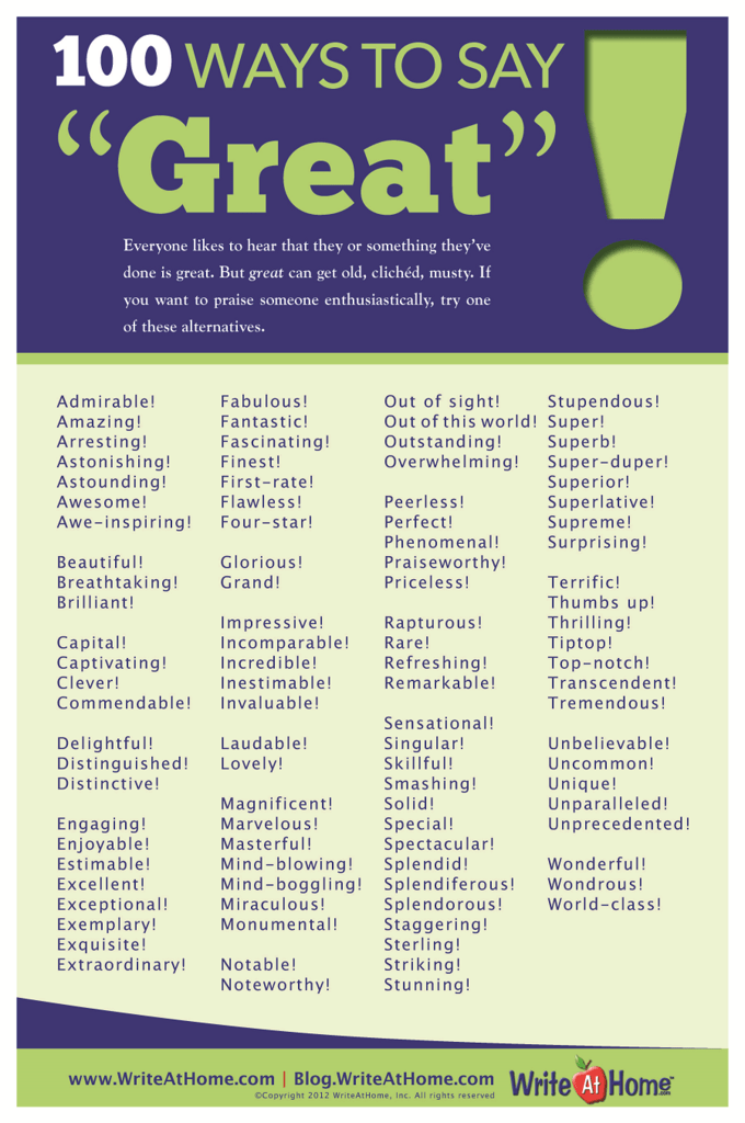 "100 Ways To Say ""great!""  Knowitall"