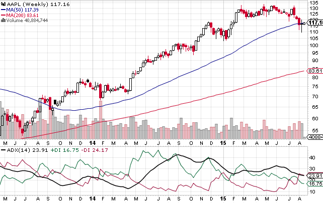 The above weekly chart shows how Apple stock has traded in recent years, and where it stands today. The ADX index shows a bearish reversal which at the very least will delay any rallies for Apple.
