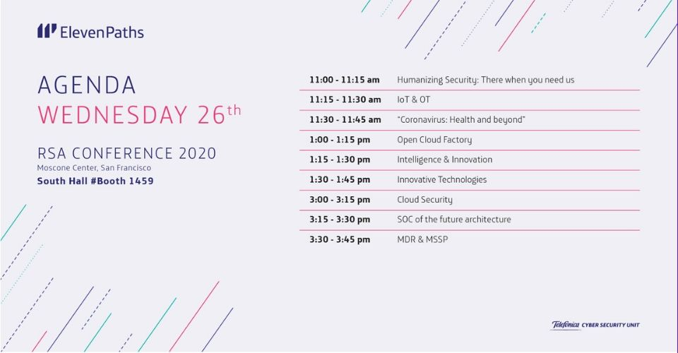 Agenda ElevenPaths wednesday 26 RSA Conference 2020