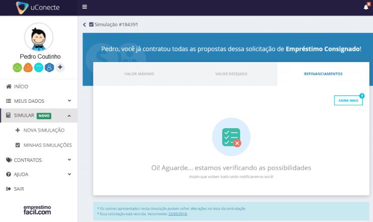 simulador de empréstimo consignado - tela do refinanciamento