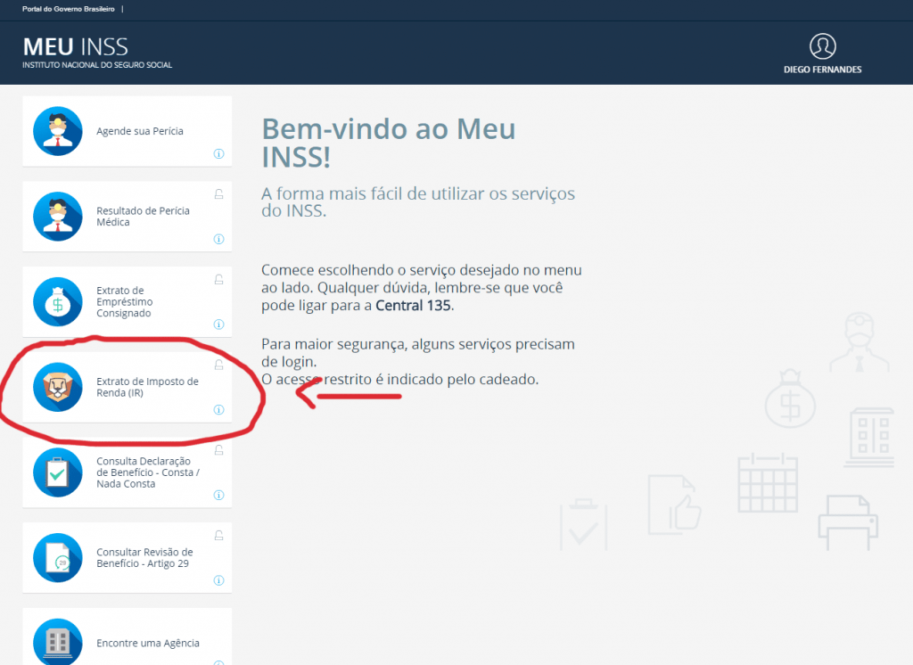 Tela do imposto de renda (IR)